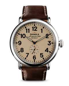 Shinola Runwell 41mm polished Stainless Steel, ivory dial, coffee leather strap