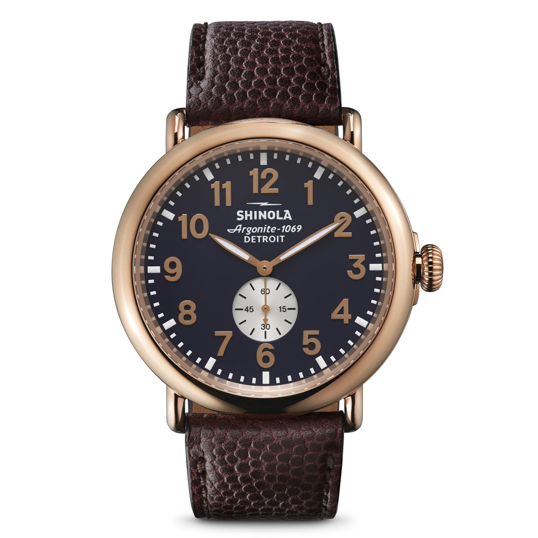 Shinola Runwell 47mm PVD Rose Gold case, blue dial, brown leather strap