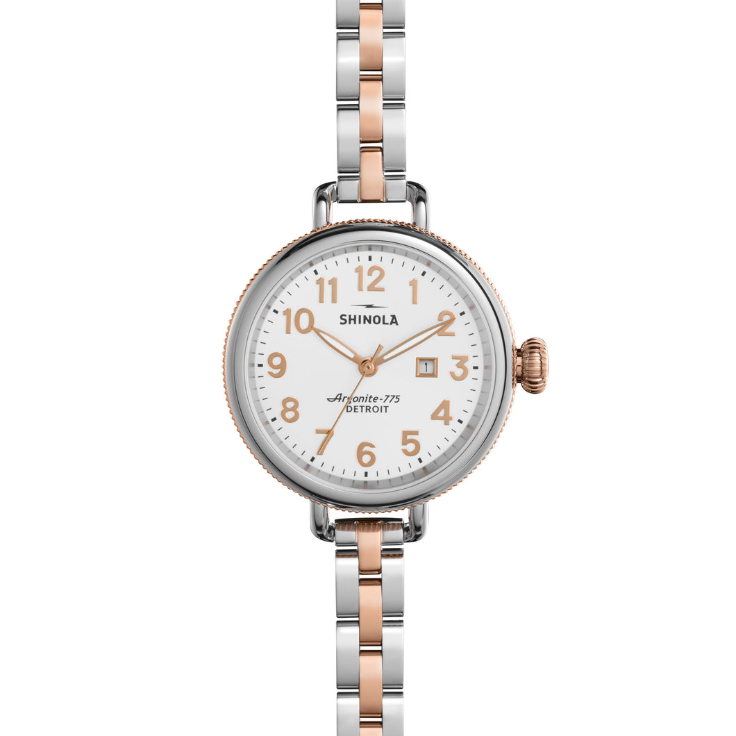Shinola Birdy 34mm polished Stainless Steel and PVD rose gold, white dial, two-tone bracelet