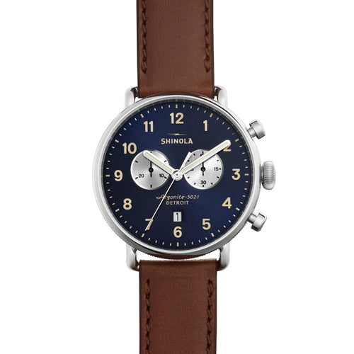 Shinola Canfield Chrono 43mm polished Stainless Steel, midnight blue dial, cognac leather strap