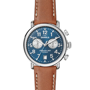 Shinola Runwell Chrono 41mm polished Stainless Steel, blue/silver dial, brown leather strap