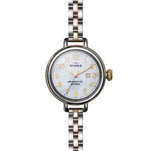 Shinola Birdy 34mm polished Stainless Steel and PVD gold, white Mother of Pearl dial, two-tone bracelet