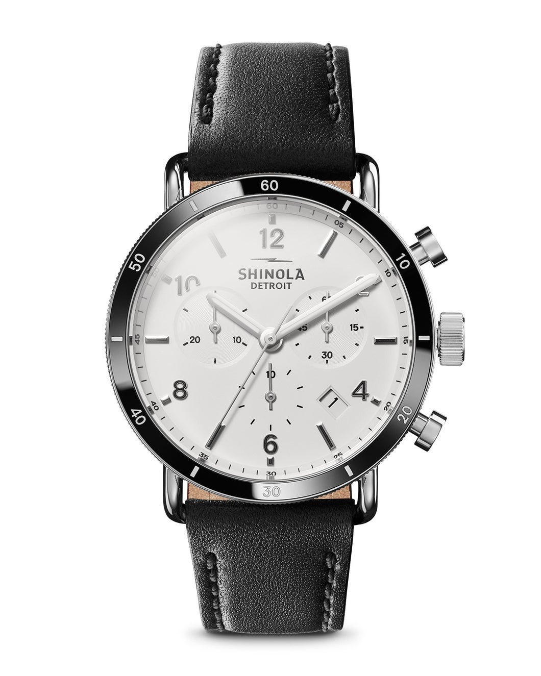 Shinola Canfield Sport Chrono 40mm polished Stainless Steel, white dial, leather strap