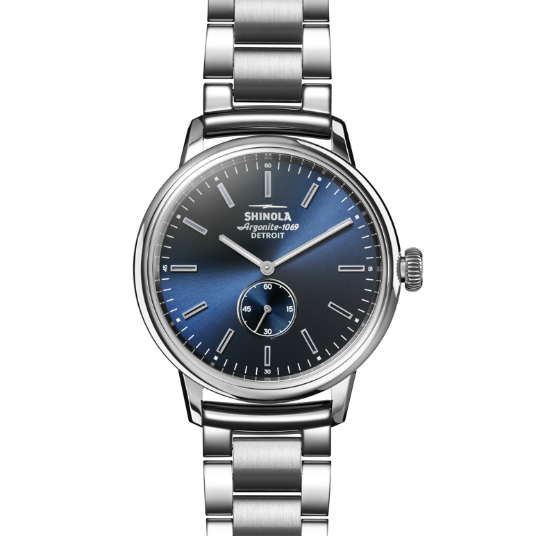 Shinola Bedrock 42mm polished Stainless Steel, blue dial, silver bracelet