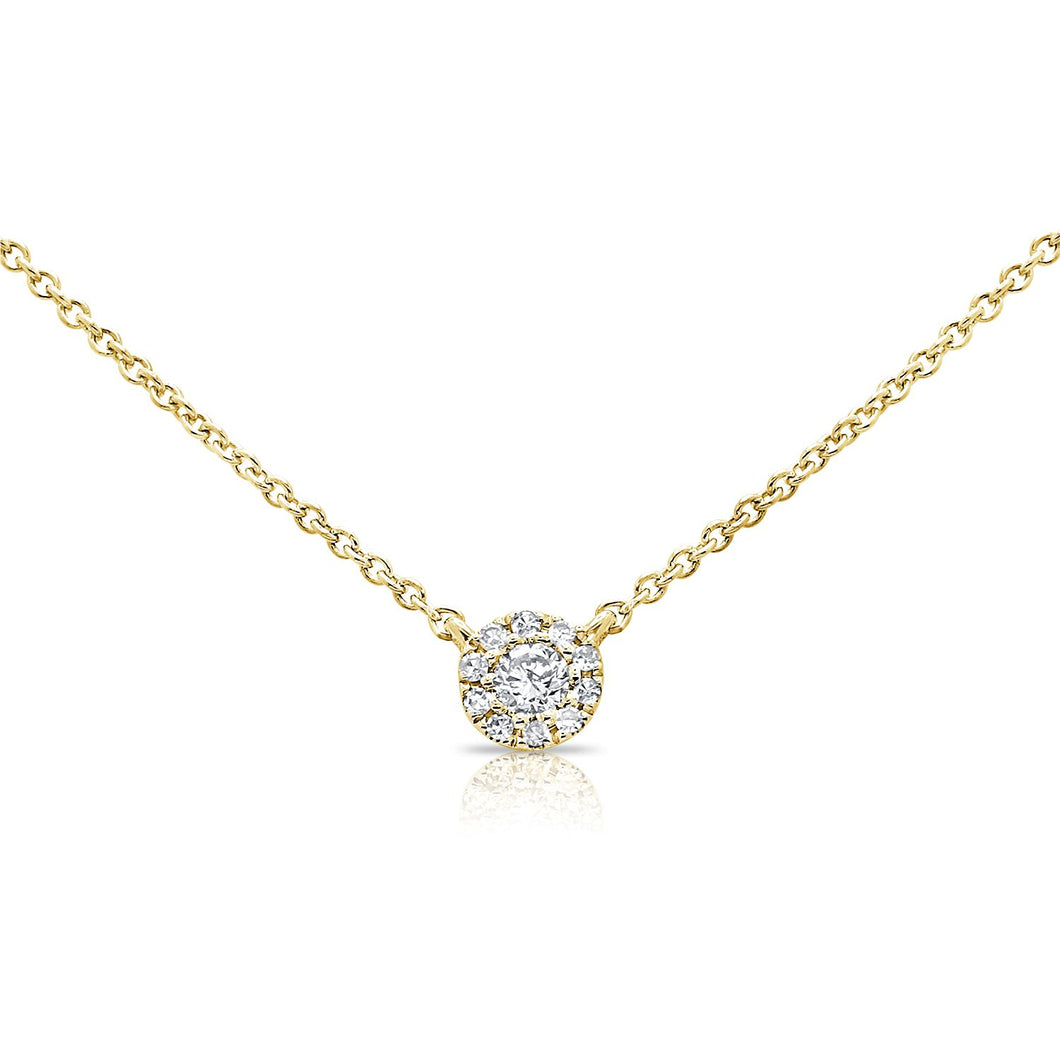 14k 0.09 Ct Diamond Cluster Necklace, Available in White, Rose and Yellow Gold