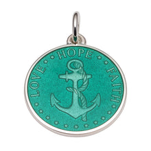 Load image into Gallery viewer, Sterling Silver Enamel Anchor Round Medal