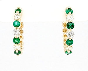 14k Yellow Gold 0.41 Ct Emerald, 0.36 Ct Diamond Huggie Earring