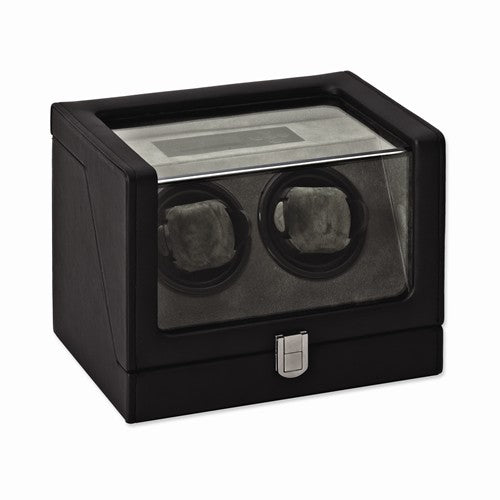 Black Faux Leather Glass Window 2-Watch Winder