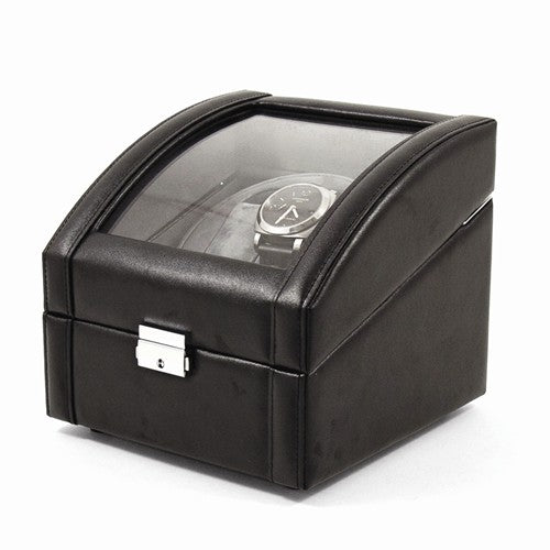 Black Leather Glass Top Lockable 2-Watch Winder