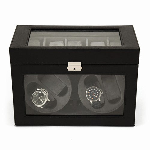 Black Leather Glass Top Lockable 4-Watch Winder
