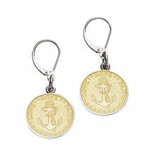 Load image into Gallery viewer, Sterling Silver Enamel Lever Back Anchor Earrings 1/2 inch disc