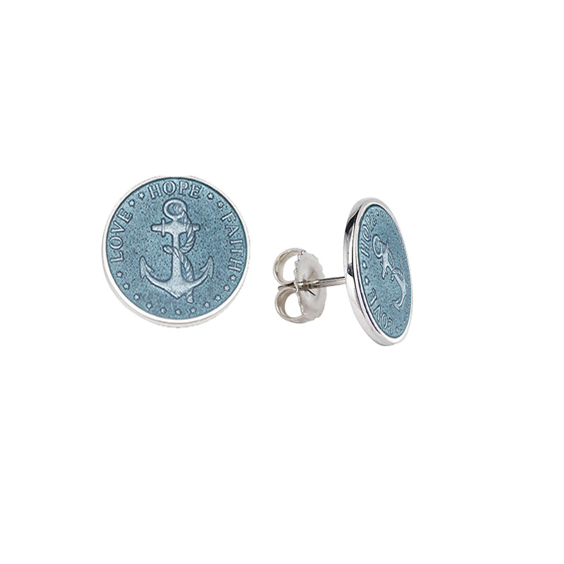 Sterling Silver Enamel Post Anchor Earrings 1/2 inch disc