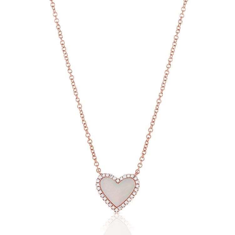 14k 0.63 Ct MOP, 0.08 Ct Diamond Heart Necklace, Available in White, Rose and Yellow Gold