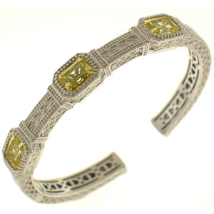 "Judith Ripka Sterling Silver ""Estate"" Cuff Bracelet 13.35 carats of Canary yellow crystal."