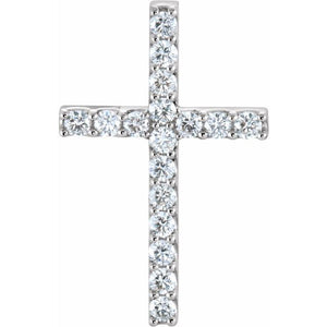 14k 0.20 Ct Diamond Cross Pendant, Available in White, Rose and Yellow Gold