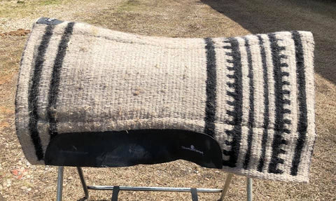 "Used EPS black/tan saddle pad 3/4"" - blanket 34"" length, padded area under blanket is 30"""