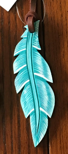 "Saddle Charm Hand Painted Feather - Large (1.5""wide x 5"" long)"