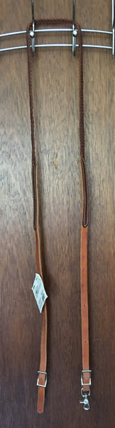 Reinsman Leather Rein with flat braided center - 7 1/2'