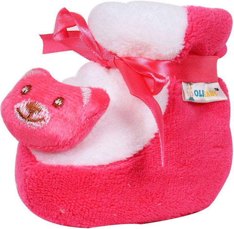 Ole Baby Cute Balu the bear Plush Soft Furry Organic 3d Ole Toons 0-9 Months Booties  (Toe to Heel Length - 9 cm Pink)