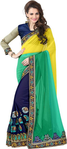 Amar Enterprise Embroidered Daily Wear Georgette Saree  (Blue, Green, Yellow)
