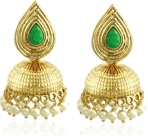 Spargz Gold Plated Synthetics Stone Traditional Jhumka For Women Diamond Brass Jhumki Earring