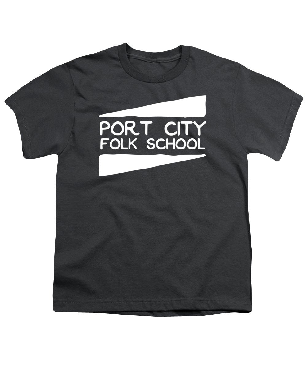 Port City Folk School Logo - White - Youth T-Shirt