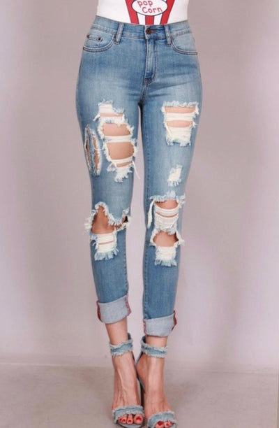 Kari Mid Rise Distressed Denim Jeans - Porterie