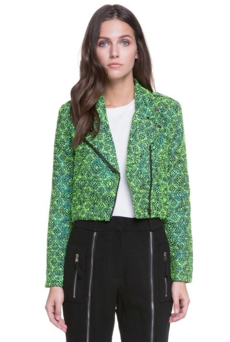 Abstract Green Double Zipper Moto Jacket - Porterie