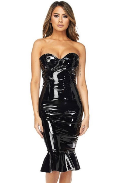 Latex Mermaid Bodycon Midi - Porterie