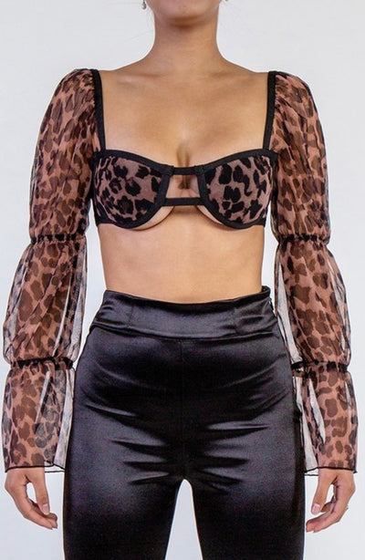 Kim Leopard Puff Sleeve Crop Top