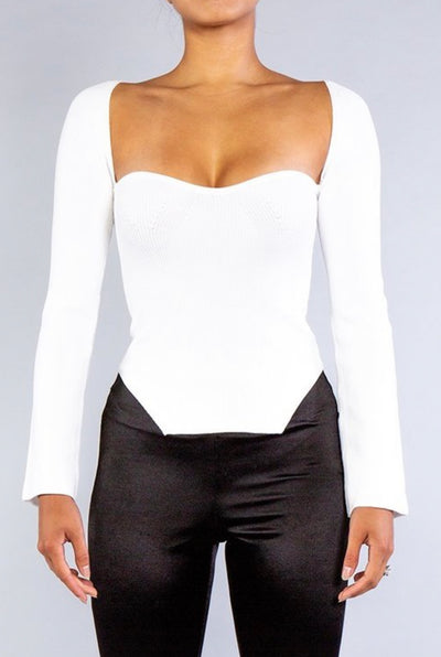 Square Neck Asymmetric Knit Top