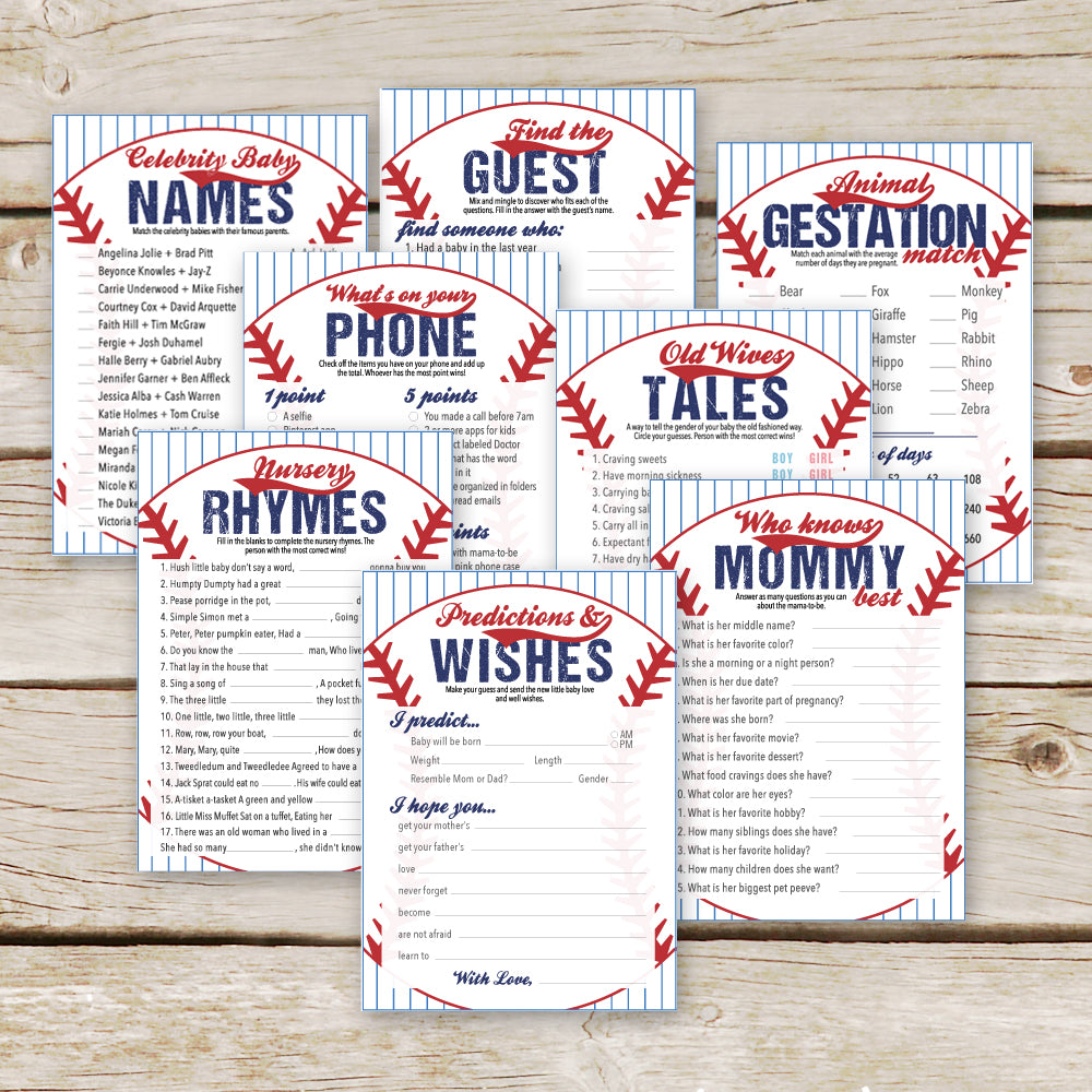 Baseball Baby Shower 8 Games Package