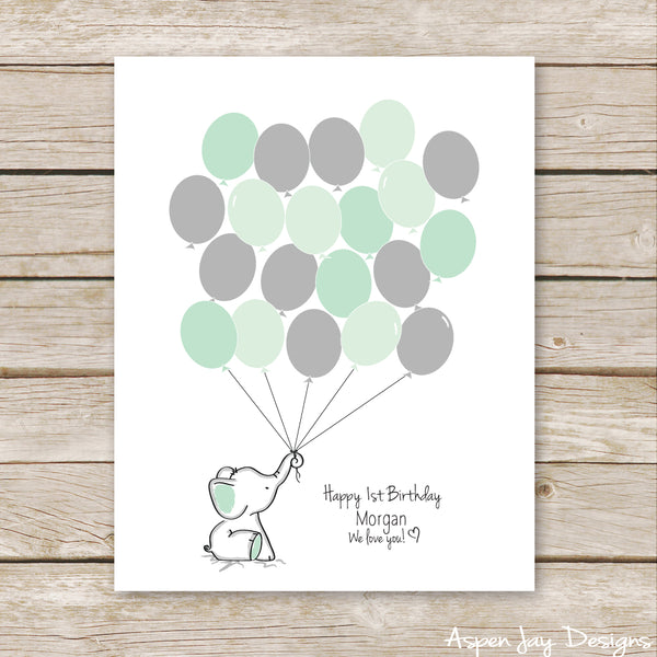 Green Elephant Balloon Guest Book