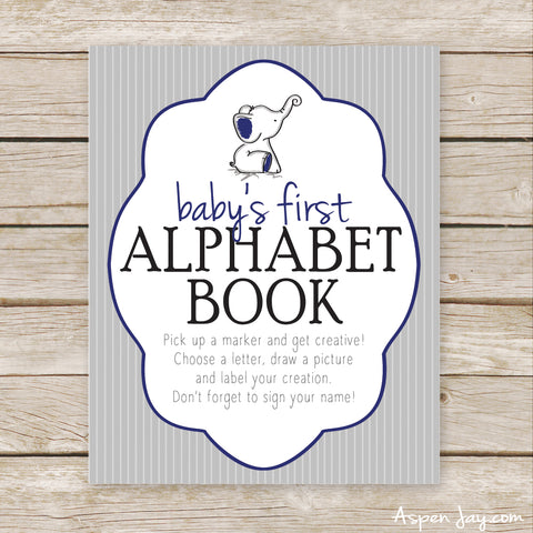 Navy Elephant First Alphabet Book Sign