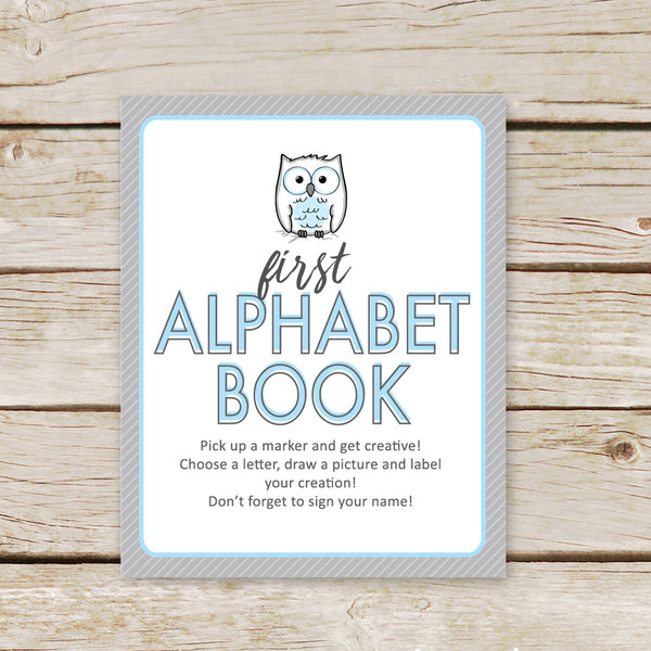 Blue Owl First Alphabet Book Sign