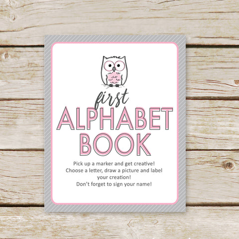 Pink Owl First Alphabet Book Sign