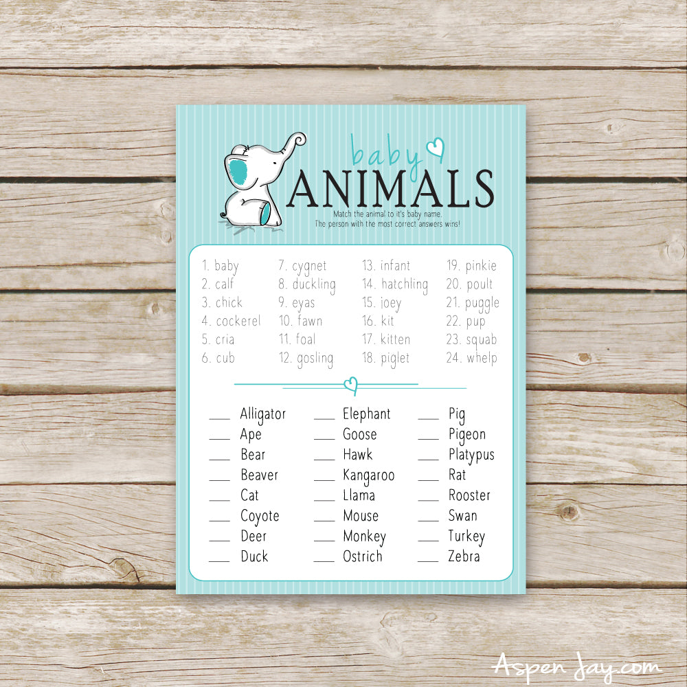 Turquoise Elephant Baby Animal Names