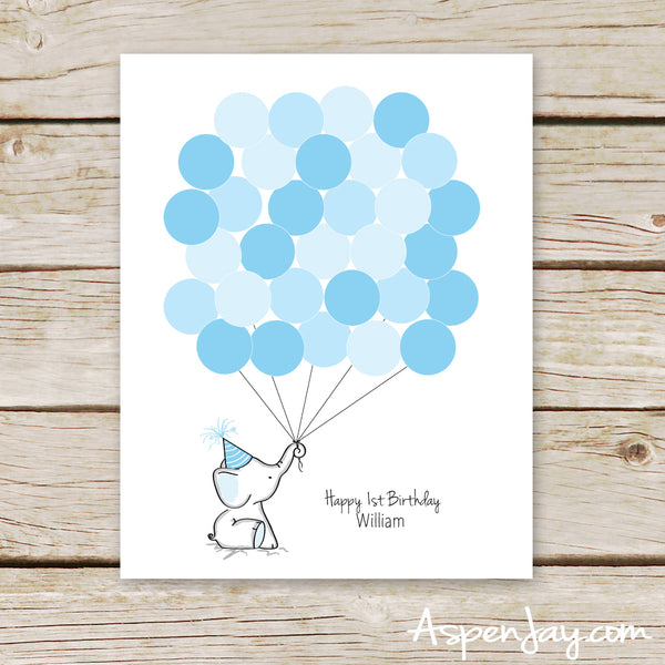Blue Elephant Birthday Guest Book