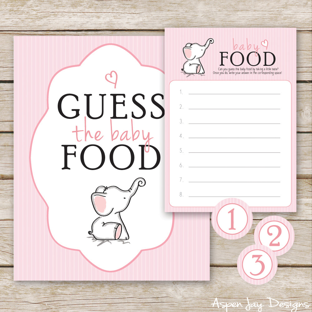 Pink Elephant Guess the Baby Food
