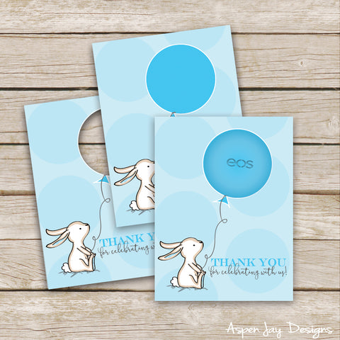 Blue Bunny EOS Lip Balm Favor Card