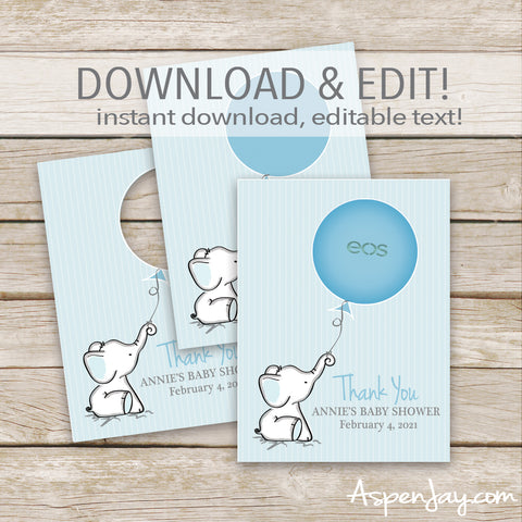 EDITABLE Blue Elephant EOS Lip Balm Favor Card