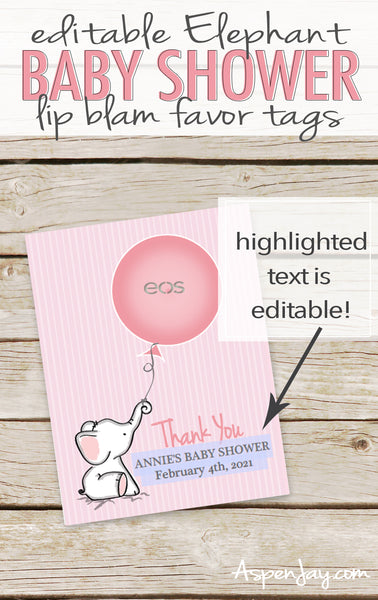 EDITABLE Pink Elephant EOS Lip Balm Favor Card