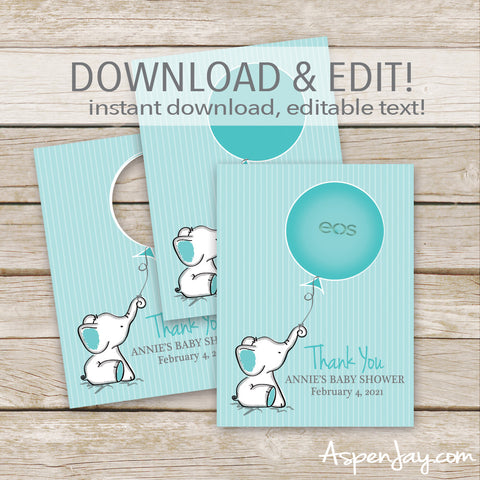 EDITABLE Turquoise Elephant EOS Lip Balm Favor Card