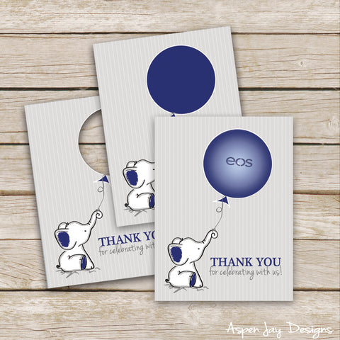 Navy Elephant EOS Lip Balm Favor Card