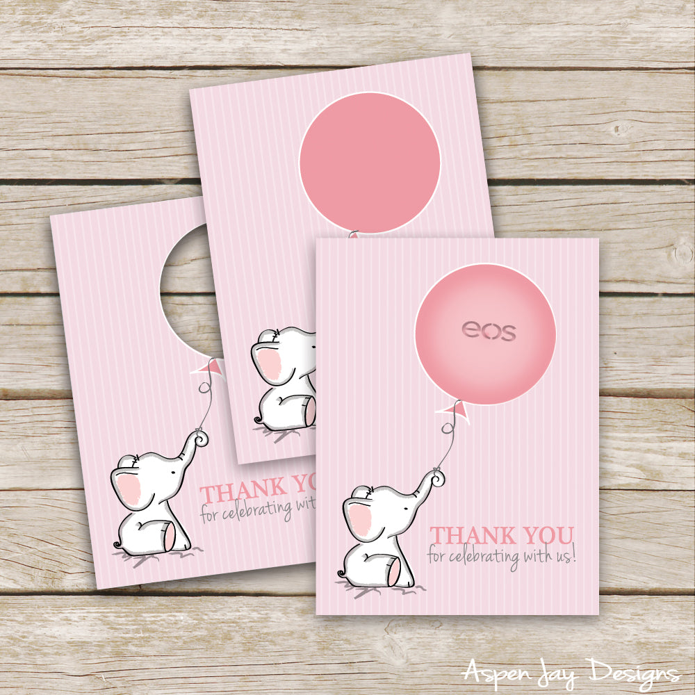 Pink Elephant EOS Lip Balm Favor Card