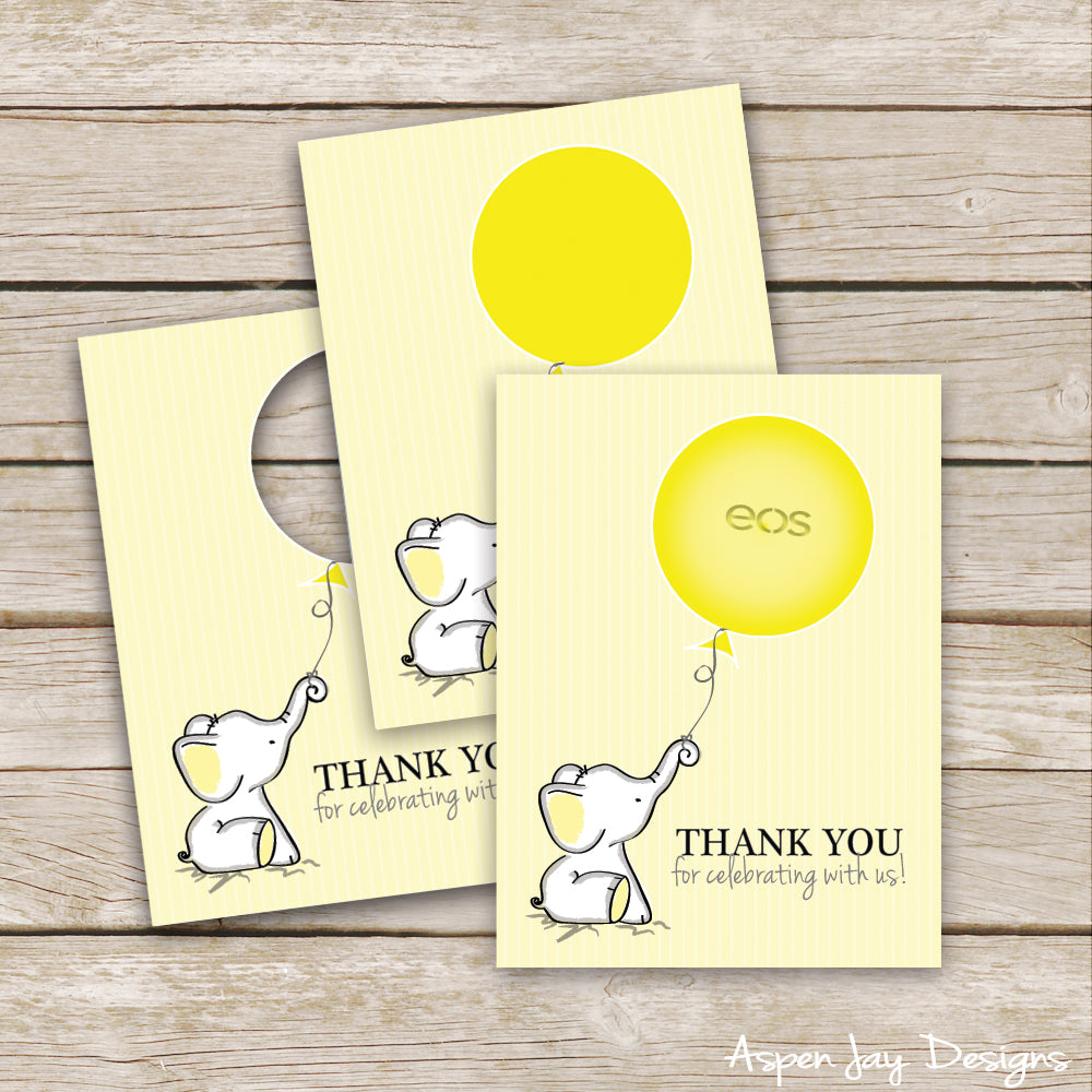 Yellow Elephant EOS Lip Balm Favor Card