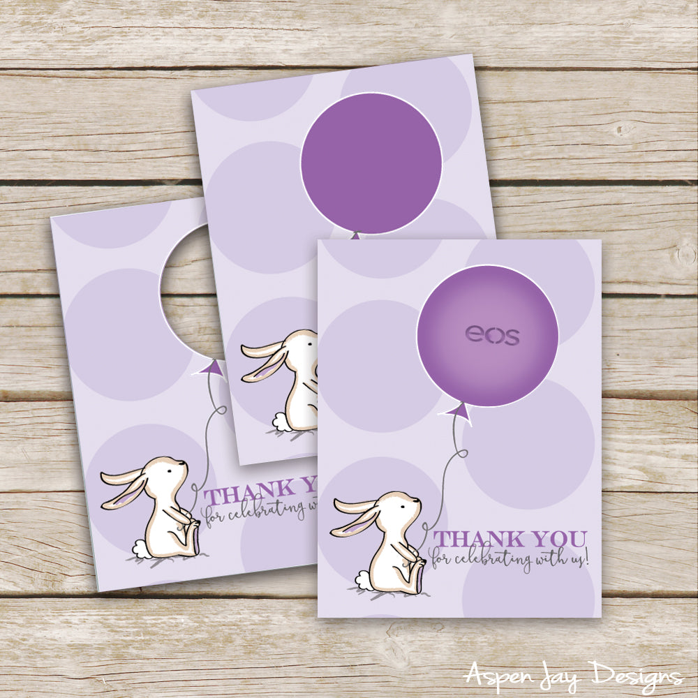 Purple Bunny EOS Lip Balm Favor Card