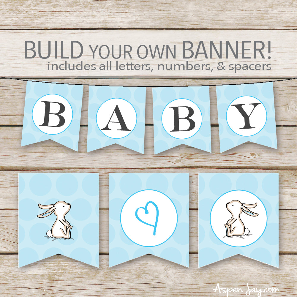 Blue Bunny Banner - ALL Letters & Numbers