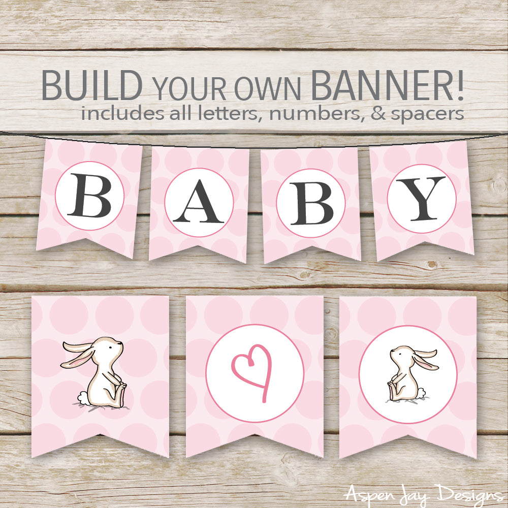 Pink Bunny Banner - ALL Letters & Numbers