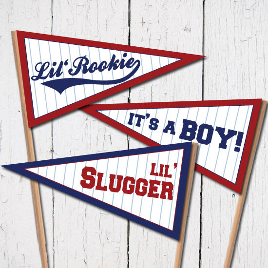 Baseball Baby Shower Pennant Flags